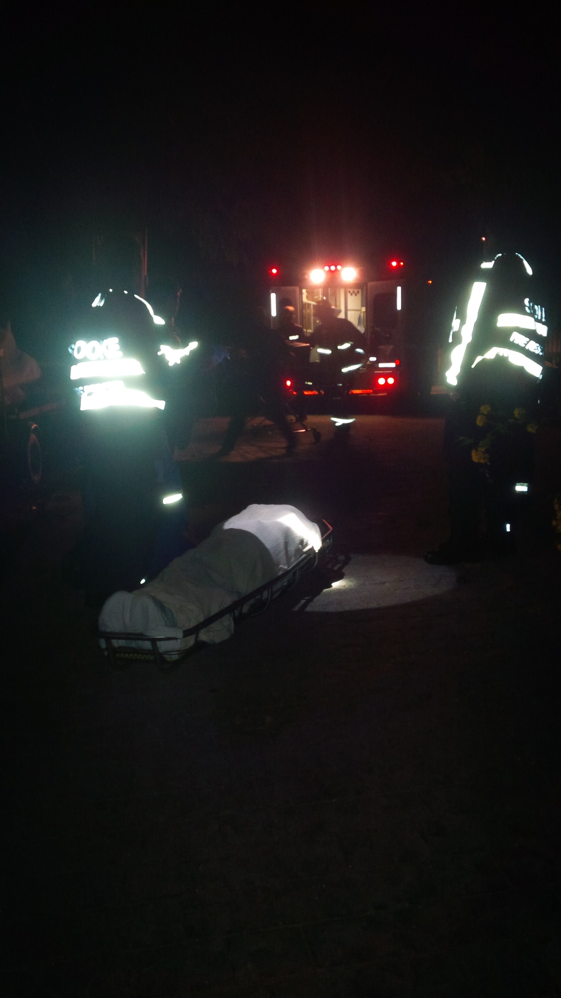 stretcher, neck brace, basket, blanket, paramedics, fire department
