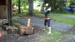 lumberjack, firewood, axe, wood chopping, camping,