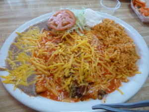 enchiladas, Casa del Sol, Oregon, refried beans, Mexican food, cheese