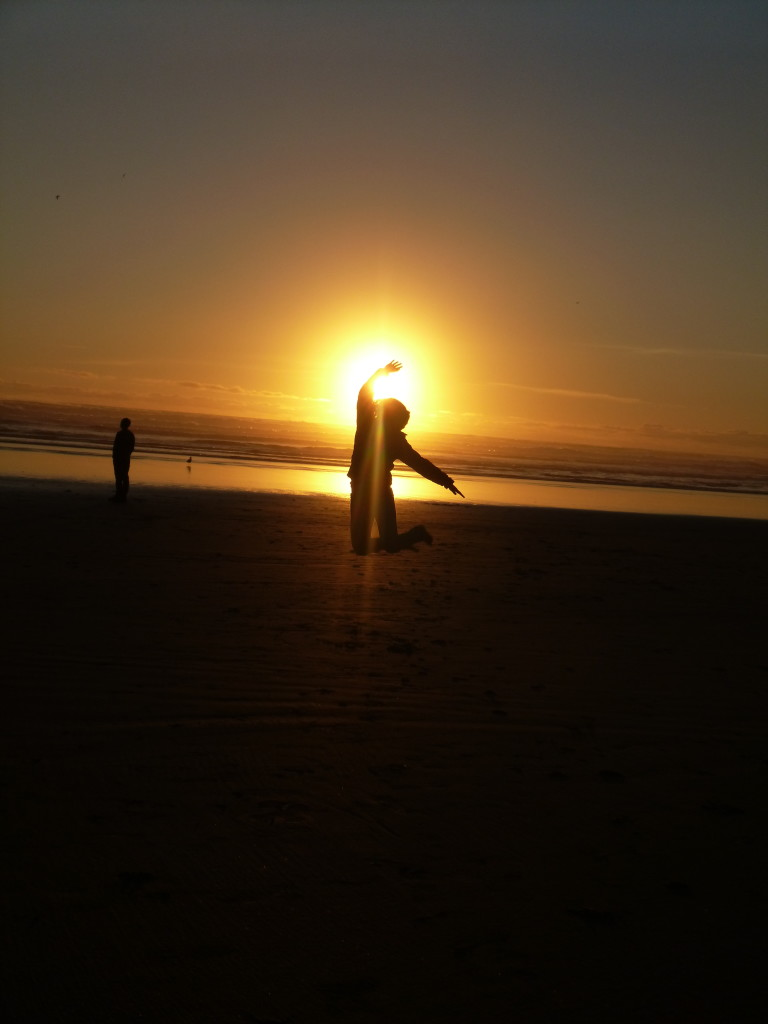 Oregon, Cannon beach, sunset, jumping