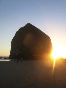 Cannon Beach, Oregon, sunset, Haystack Rock,