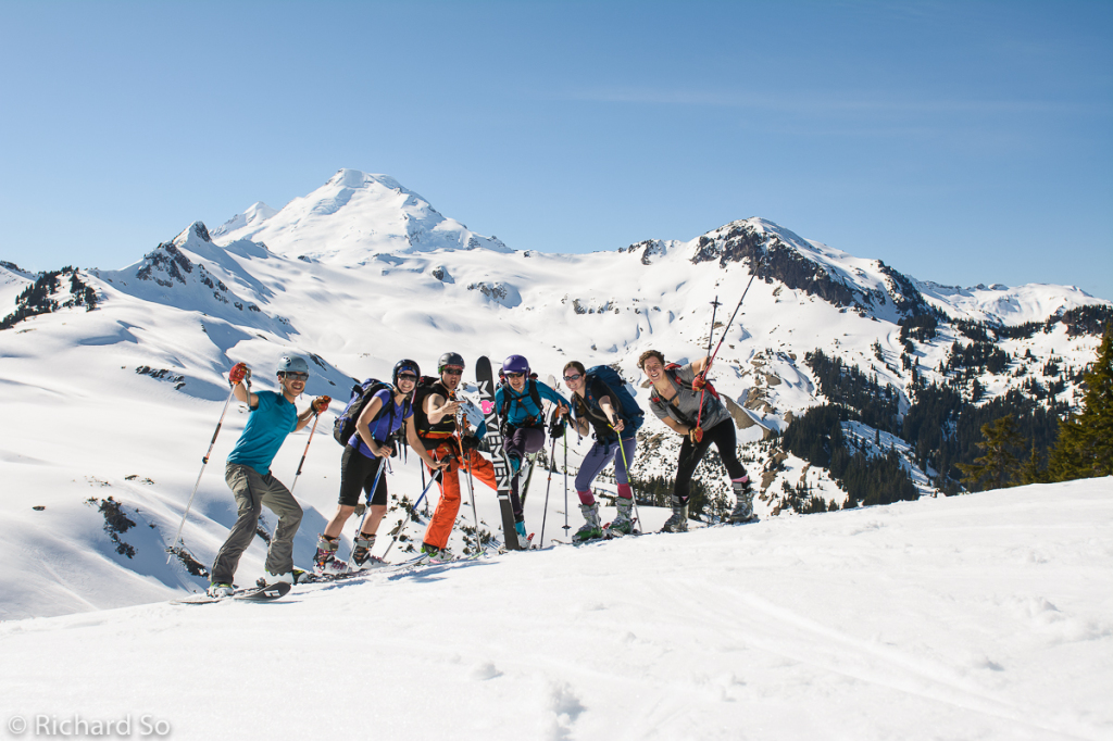 backcountry skiing, ski mountaineering, british columbia, group photo