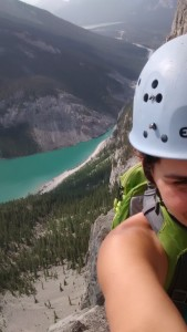 EEOR, Canmore, rock climbing, east end of rundle, multi-pitch, selfie