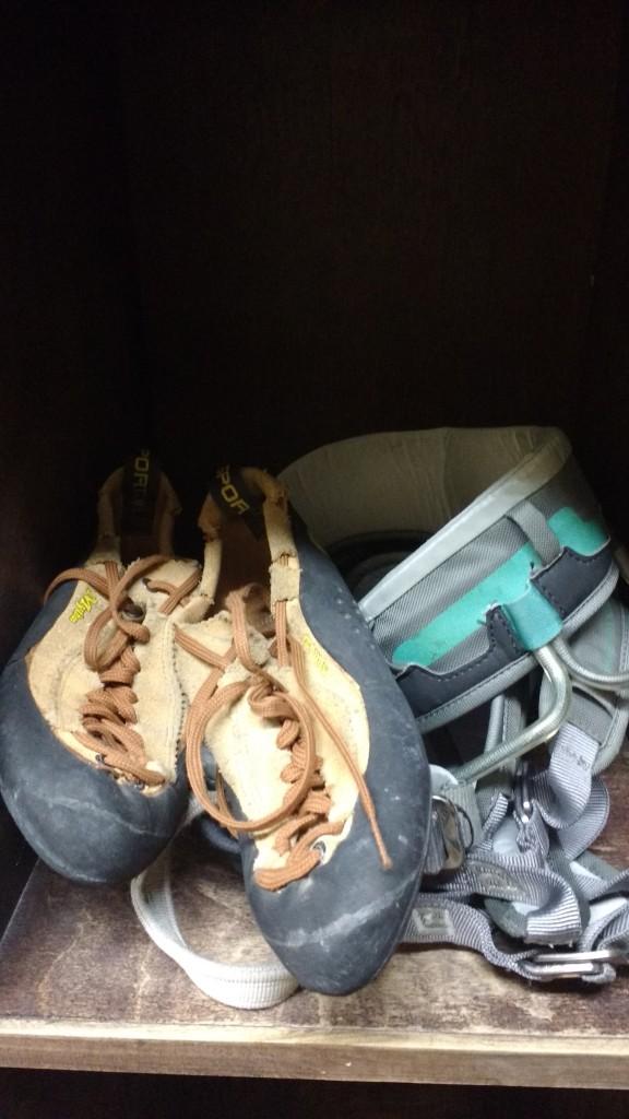 climbing shoes, climbing harness