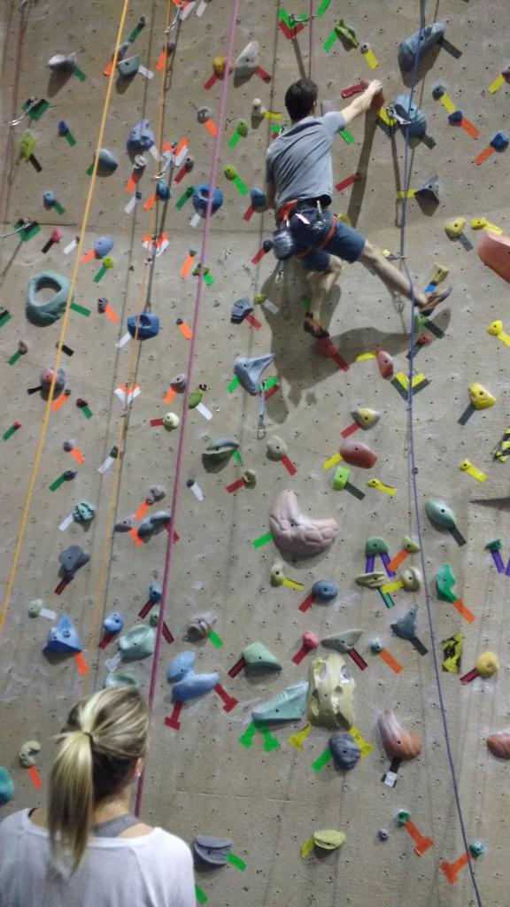 rock climbing, climbing gym, belay, overhang