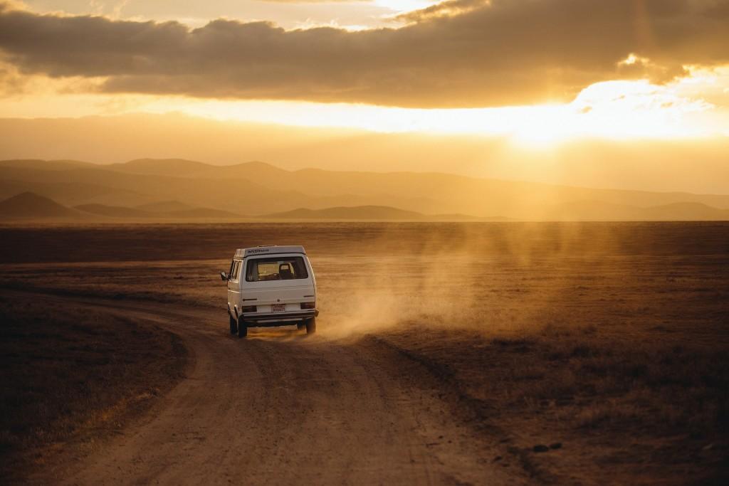volkswagen, sunset, desert