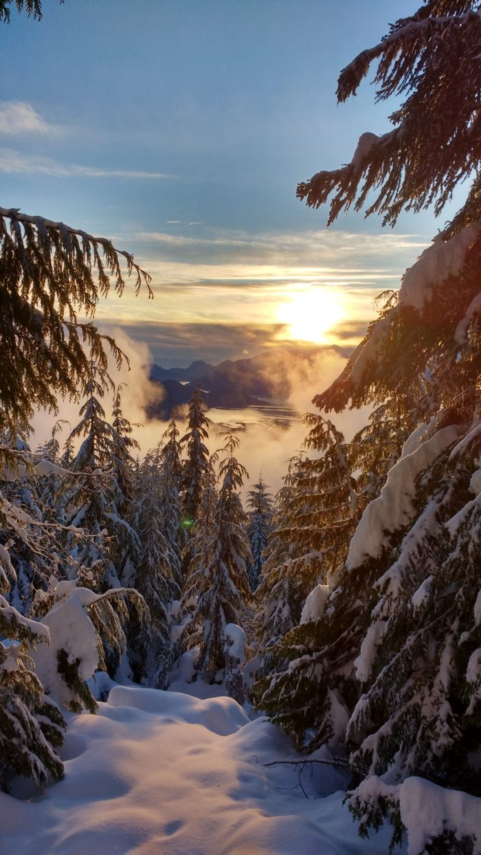 ski, sunset, snow, mountains, view, pacific northwest, squamish