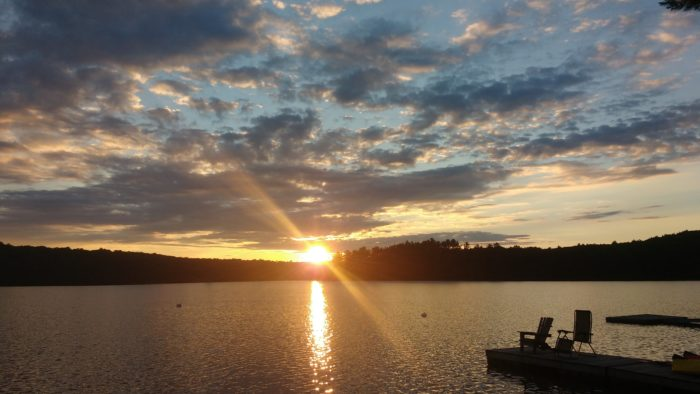 sunset, muskoka chair, muskoka, lake