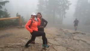 hikers, grouse grind, fog, hiking