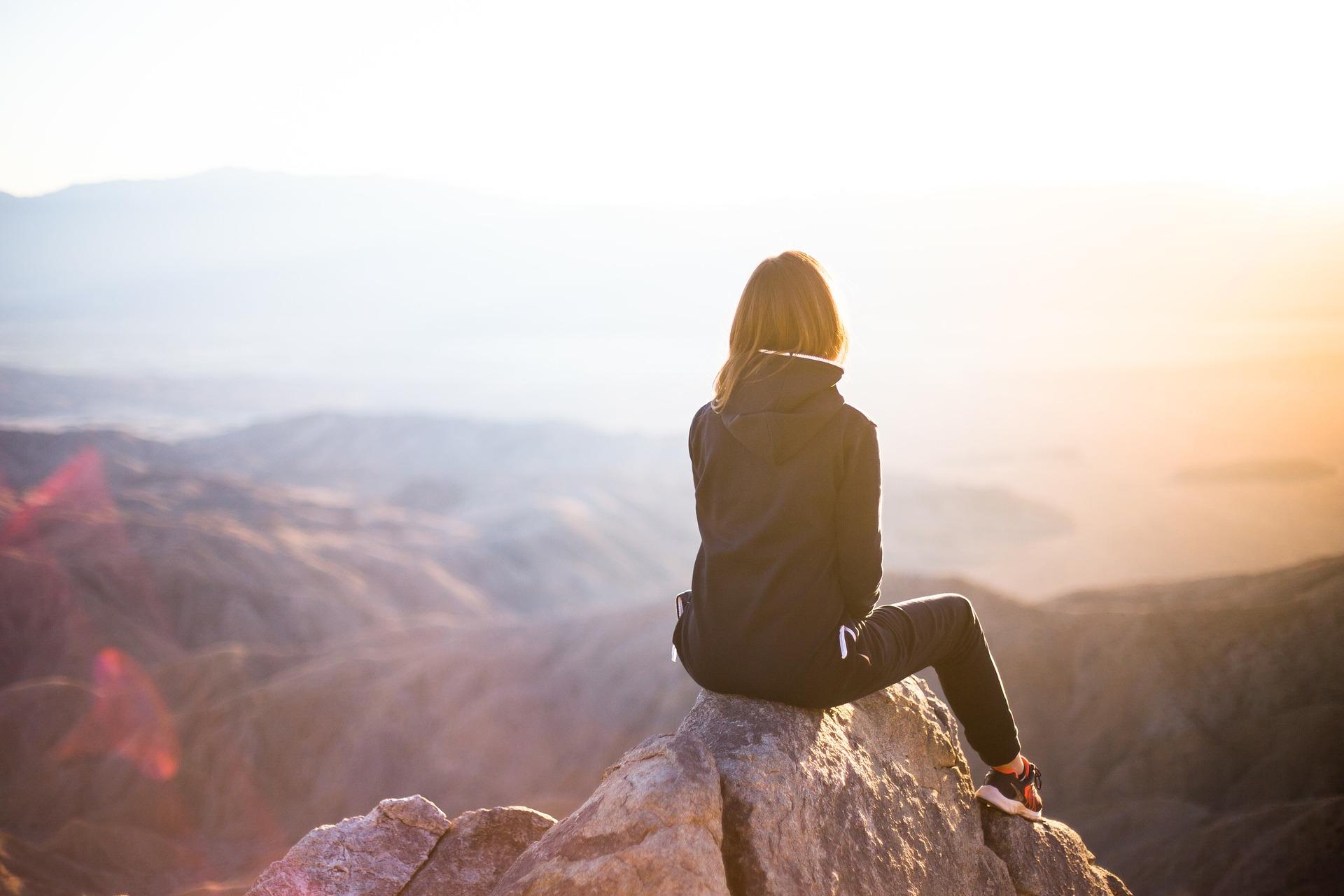 woman, mountain, sunset