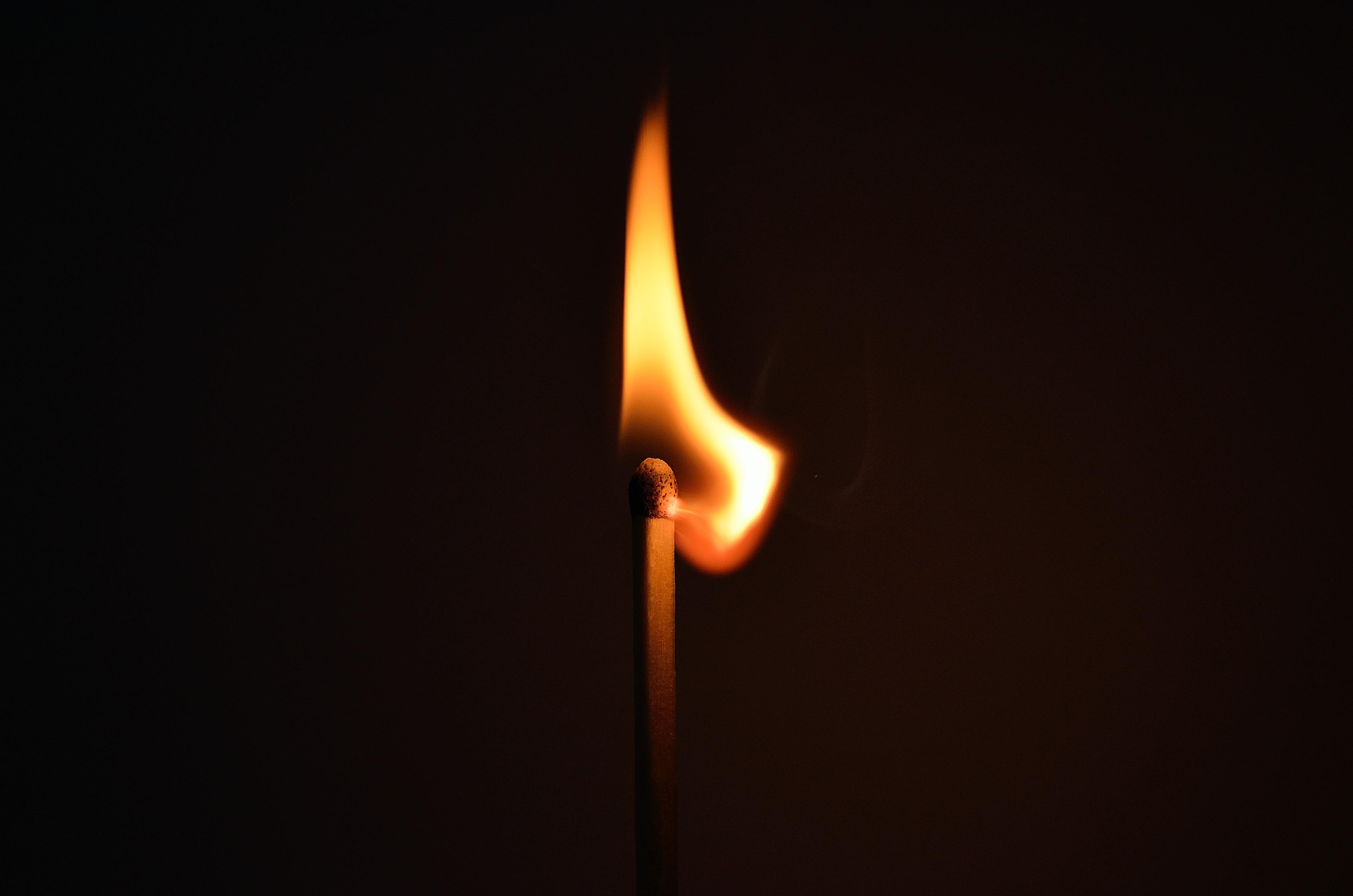 matchstick, match, fire, burning