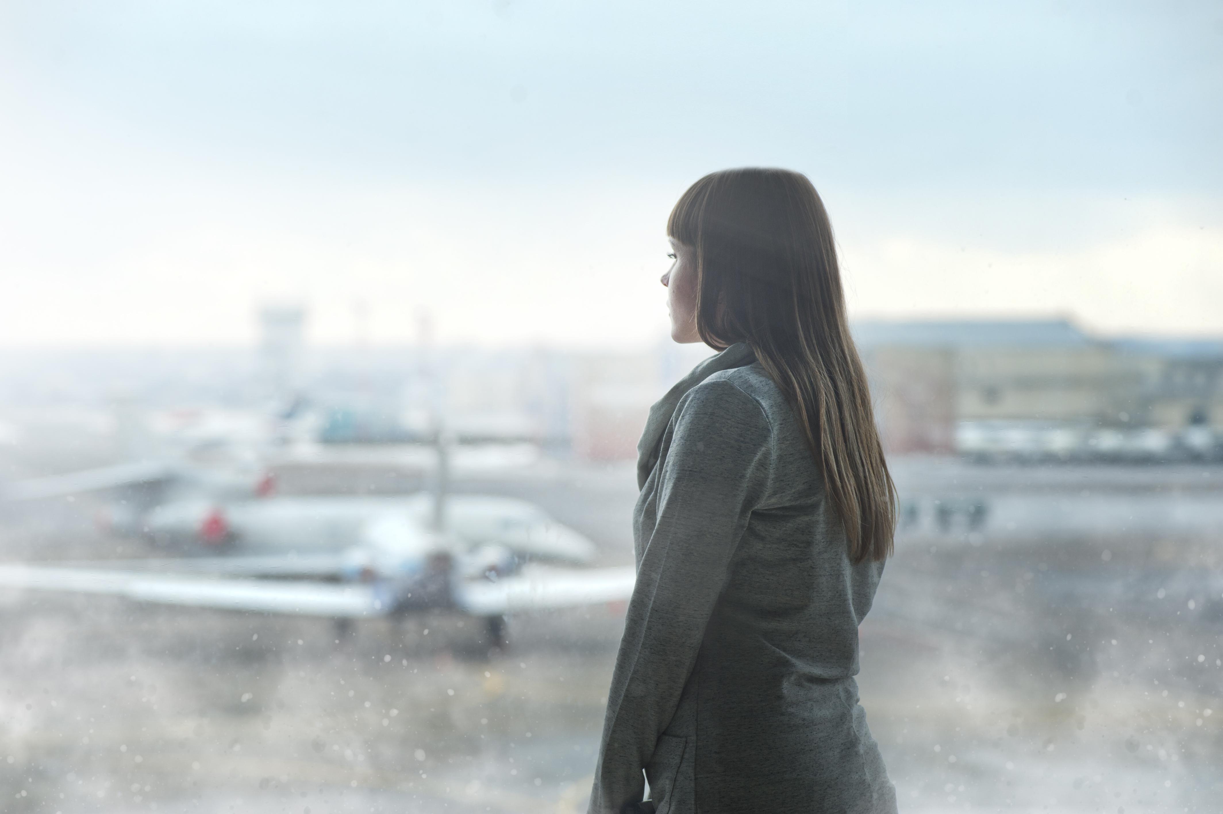 girl, airplane, airport