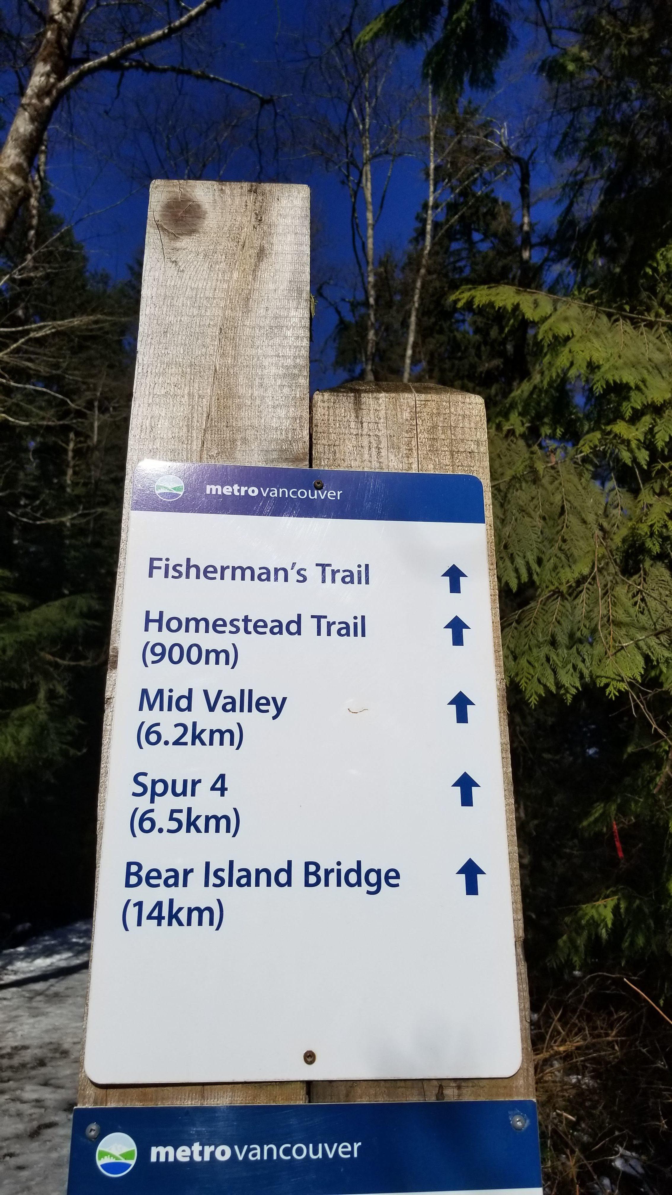 metro vancouver, hiking trail, trail sign, fisherman's trail